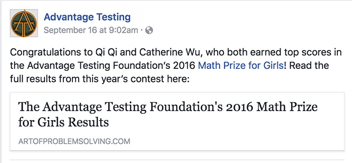 Congratulations to Qi Qi and Catherine Wu, who both earned top scores in the Advantage Testing Foundation's 2016 Math Prize for Girls!