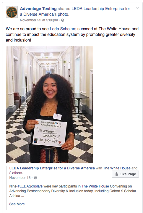 We are so proud to see Leda Scholars succeed at The White House
